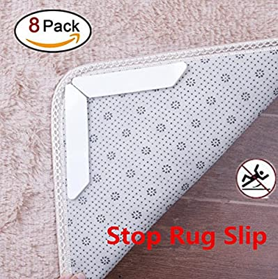 Rug Grippers Anti Curling Carpet Gripper Non Slip Rug Pads for Indoor & Outdoor Carpet Mat, Rug Slip Grip -Ideal Rug Stopper For Kitchen | Bathroom by LZMU (8piece)
