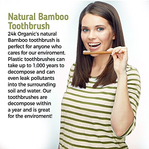 Natural Bamboo Toothbrush By 24K Organic Eco friendly – Go Green Dental Care For The Entire Family by 24kOrganic (Image #3)