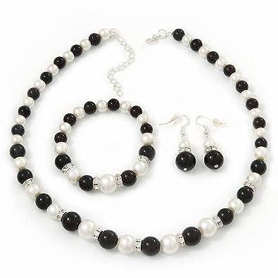 Avalaya Jet Black Glass Bead Necklace, Flex Bracelet & Drop Earrings Set With Diamante Rings - 40cm Length/6cm Extension