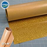Siser Glitter Gold Easyweed Heat Transfer Craft Vinyl Roll (30ft x 10'' Bulk w/ Teflon roll)