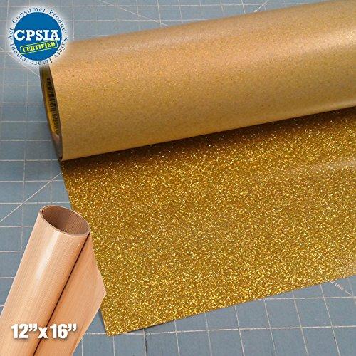 Siser Glitter Gold Easyweed Heat Transfer Craft Vinyl Roll (100ft x 10'' Bulk w/ Teflon roll) by Siser