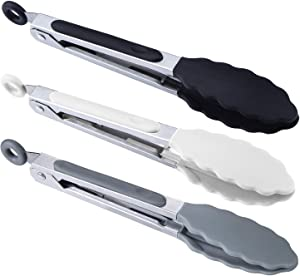 "BIGSUNNY 7"" Mini Silicone Serving Tongs Set (3, Black White Gray)"