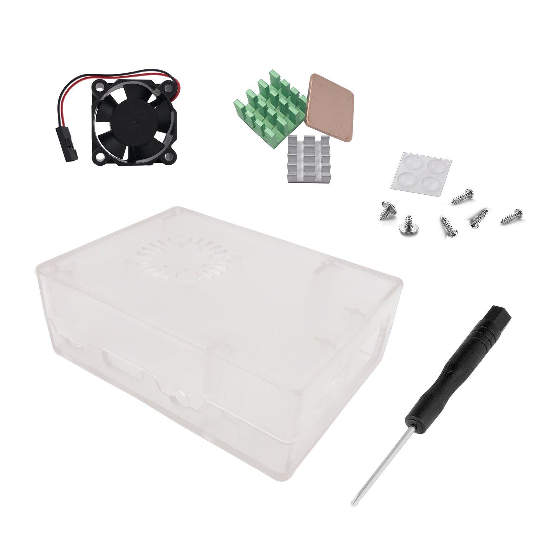 Raspberry Pi 3 Fan Case, Trnaroy Transparent Case with Cooling Fan Heatsink for Raspberry Pi 3 Model B Accessories Pi 2 Model B + Desktop Kit (Case, Cooler Fan, Heat sink)