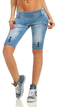 09a2686e5017 Fashion4Young 10900 Damen Jeans Bermuda Denim Shorts Kurze Hose Stretch  Destroyed Baggy Bundfalten (blau,