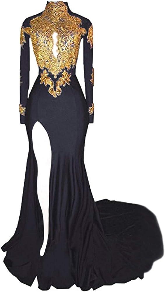 Womens High Neck Long Sleeves Mermaid Prom Dress Gold Appliques Split Evening