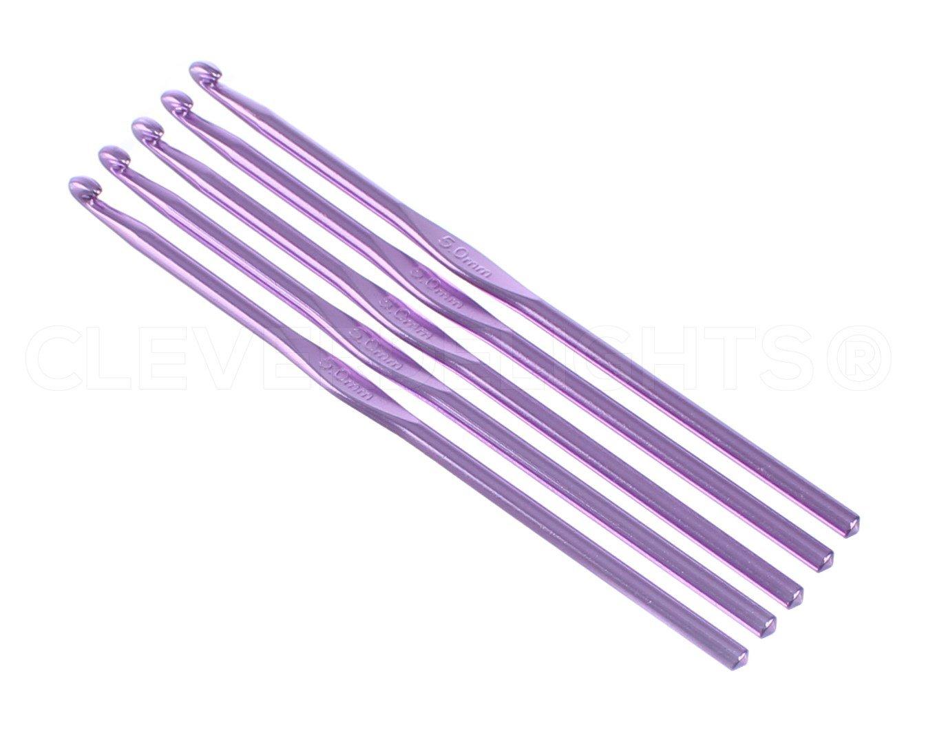 5 Pack - CleverDelights Size H (Size 8) Aluminum Crochet Hooks - 6 Length - 5mm Diameter - Knitting