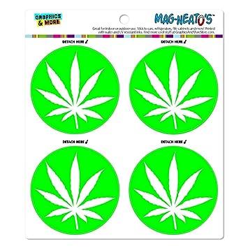 Con hoja de marihuana olla hierba verde mag-neato es del coche para frigoríficos puertas