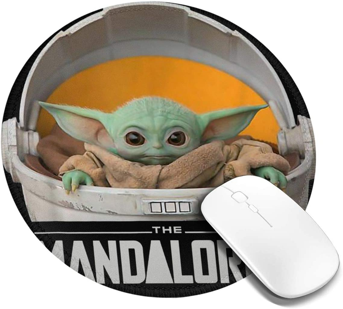 Star Wars Large Mandalorian Round Gaming Mousepad Laptop Mouse Pad Waterproof Non-Slip Mouse Pads Premium-Textured Mouse Mat Can Be Cleaned Desk Decor Suitable for Office Family Games 7.9x7.9 Inch