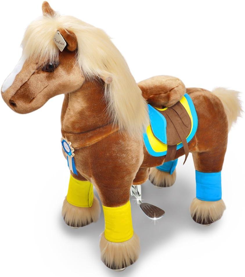 PonyCycle Oficial Primo K SeriePaseo a caballo Juguete Felpa Caminando Animal caballo marrón con melena larga para edades 4-9 Tamaño pequeño K42