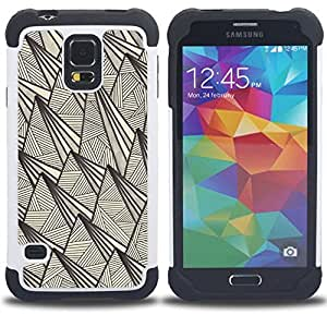 For Samsung Galaxy S5 I9600 G9009 G9008V - retro rustic pyramid pen ink art Dual Layer caso de Shell HUELGA Impacto pata de cabra con im??genes gr??ficas Steam - Funny Shop -