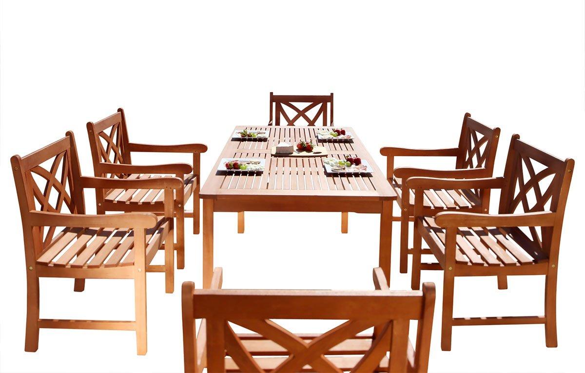 Vifah Patio Furniture.Vifah V98set13 Airlie Outdoor 7 Piece Wood Patio Dining Set Natural