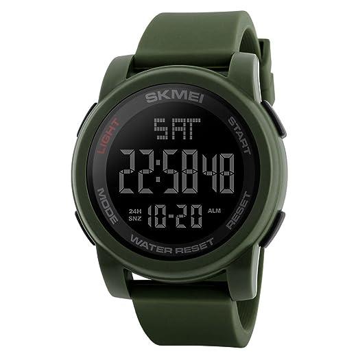 gran correa de caucho de silicona verde militar única deportes digitales llevaron relojes para hombres de moda nuevos relojes: Amazon.es: Relojes