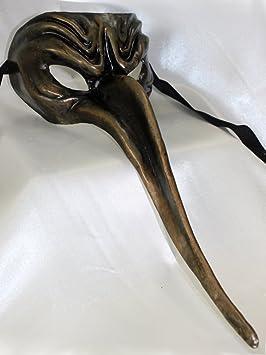 Para hombre Negro Bronce scaramuccia estilo largo nariz médico de la peste negra máscara de Masquerade