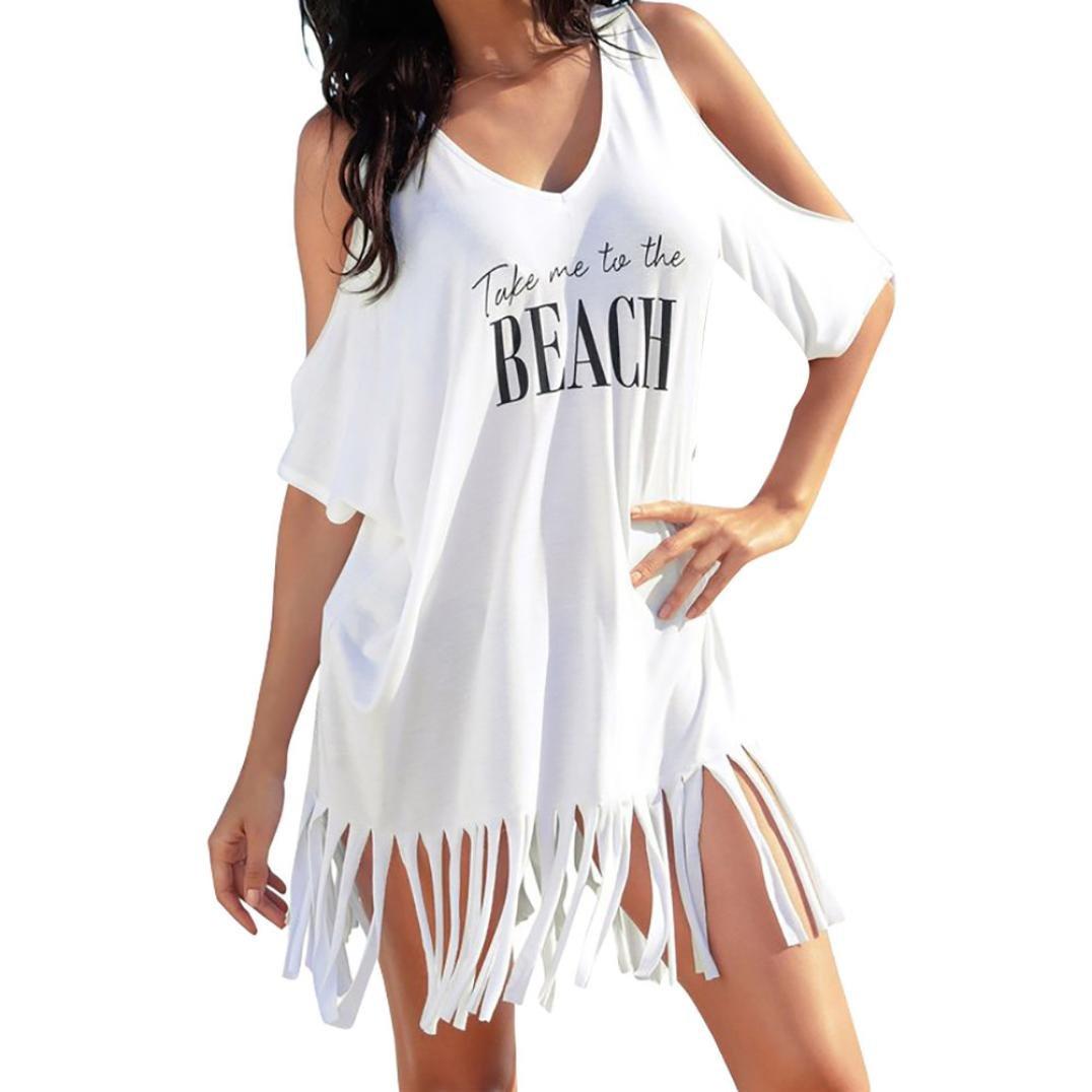 Elecenty Damen Solide Bademode Sommerkleid Bikini Vertuschen Badeanzug Bademode Kleider Frauen Quaste Schulterfrei Lose Kleid Minikleid Brief Drucken Kleidung Strandkleid