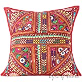 Eyes of India 24'' Burgundy Red Patchwork Sofa Cushion Cover Decorative Pillow Throw Couch Indian Bohemian Colorful Boho Seating