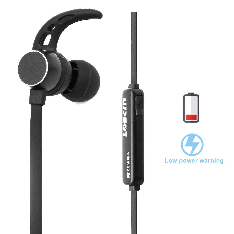 Auriculares inalámbricos LOBKIN, Bluetooth 4.1 Sonido estéreo Auriculares ligeros con conexión magnética y NANO Recubrimiento Auricular deportivo con cubierta metálica y micrófono incorporado (negro)