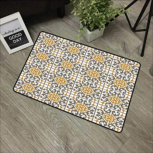 Children's mat W19 x L31 INCH Turkish Pattern,Tiles of Kaleidoscopic Spiral Geometry with Scroll Details,Taupe Pale Coffee White Natural dye printing to protect your baby's skin Non-slip Door Mat Carp