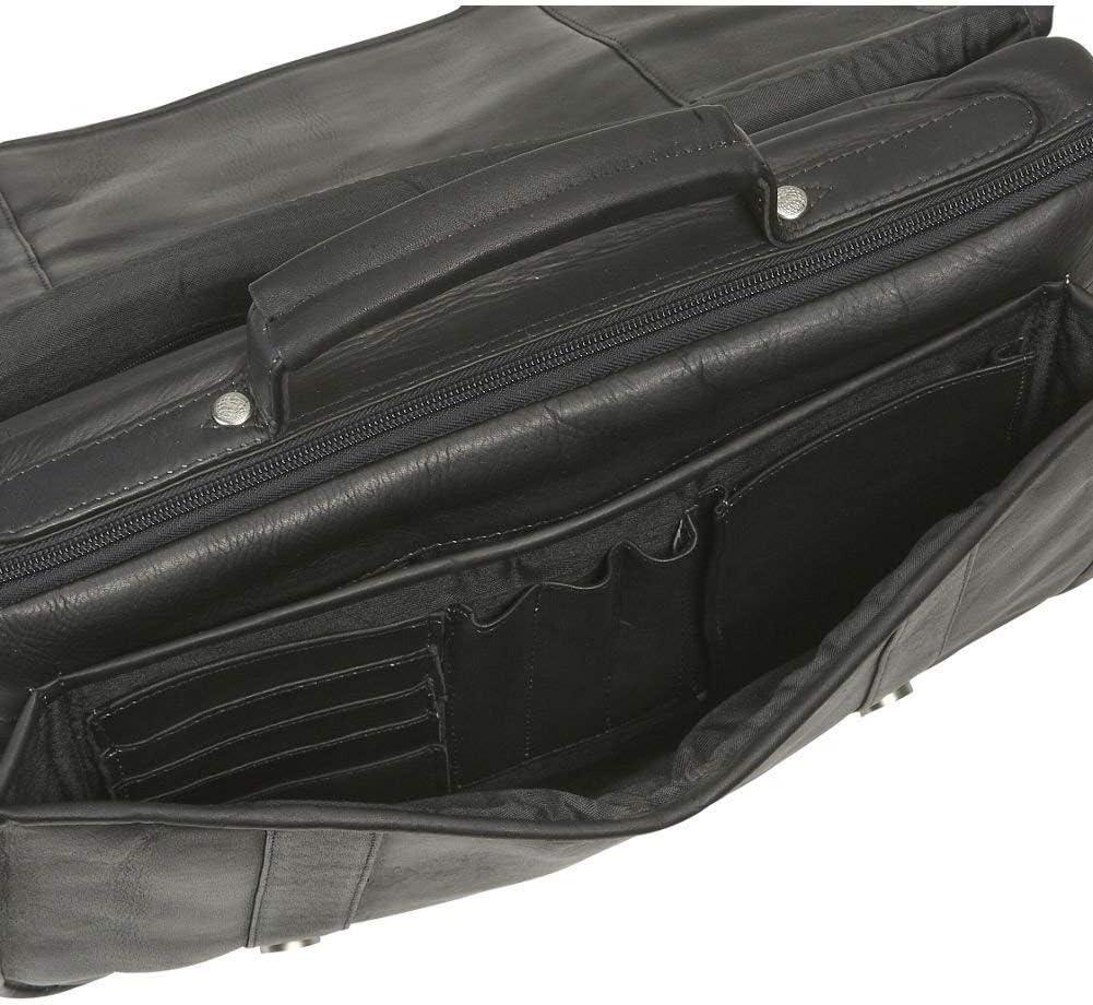 David King Porthole Leather Briefcase w//Inside Organizer in Tan