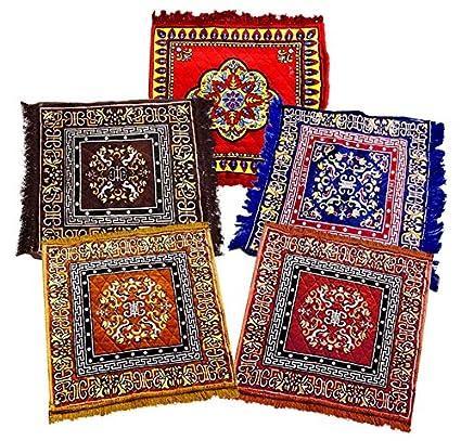 Weavers Villa Set of 5 Prayer Mat/Aasan / Puja Mat/Meditation Mat/Multipurpose Velvet Rug Mats [Size: 2ft X 2ft] [Set of 5 Mats]