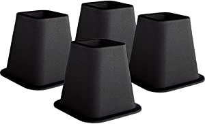 KENNEDY Home Collection 5 to 6-Inch Black Bed Risers,4-pack