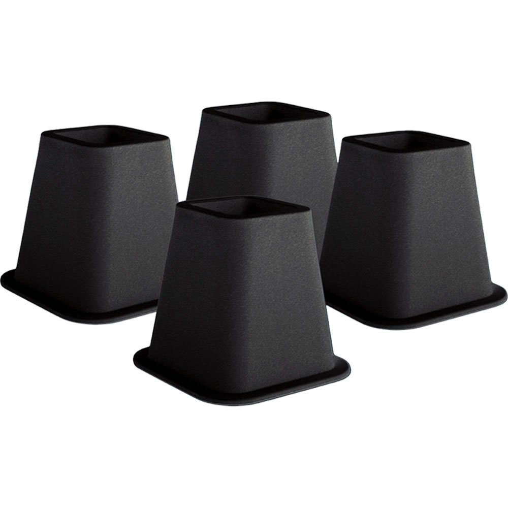 KENNEDY Home Collection 5 to 6-Inch Black Bed Risers, 4-pack 2995