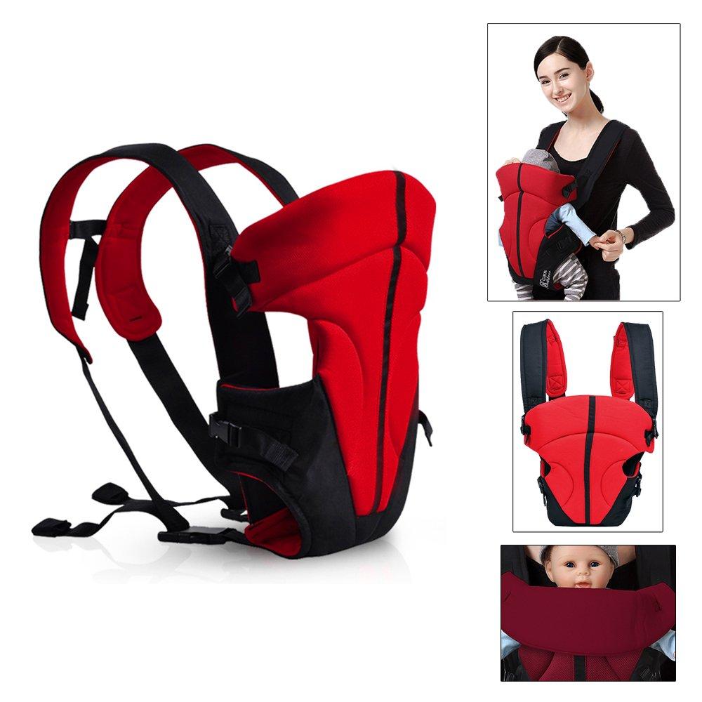 HJ® Baby-und Kindertrage Comfort Babytrage Bauch- und Rücken- 3.6-9.1KG 3-18 Monate Hochrot 338