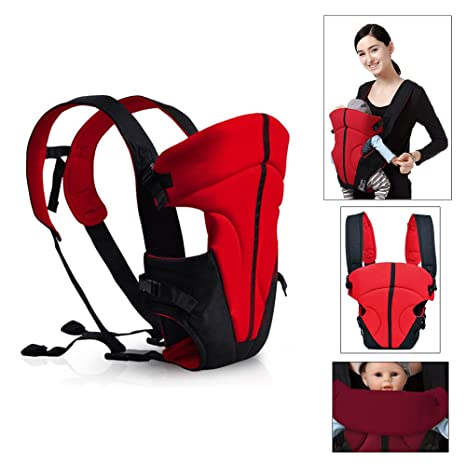 HJ® para bebés y niños comodidad portabebés de espalda y abdominales de 3.6 – 9.1 kg 3 – 18 meses Hochrot