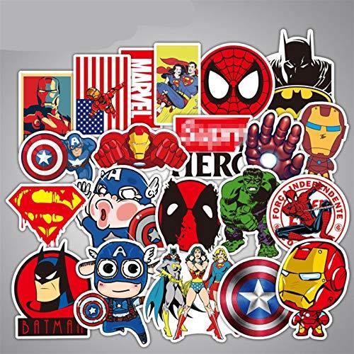 Sticker 50pcs Marvel The Avengers Figures Superheroes Ironman Hulk Doctor Strange Batman Superman Spiderman Thanos Deadpool (A)