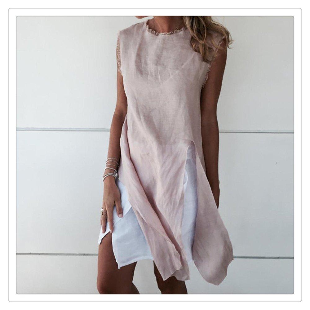 Women Ladies Dress Sleeveless Chiffon Knee Length Casual Loose Party Split Mini Dress (Pink, S)