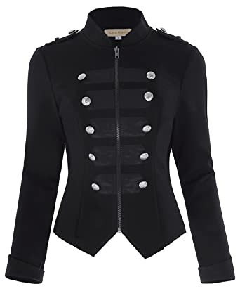 Solme Buttons Decorated Zipper Front Military Jacket Tops New Tops Woman Black Long Sleeve Outerwear Coats