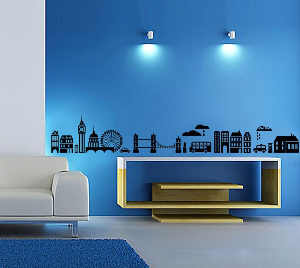 Buy decals design modern town silhouettes wall sticker pvc buy decals design modern town silhouettes wall sticker pvc vinyl 70 cm x 50 cm black online at low prices in india amazon amipublicfo Image collections
