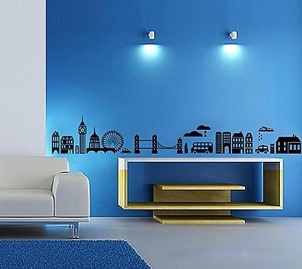 Decals Design Modern Town Silhouettes Wall Sticker (PVC Vinyl, 70 cm x 50 cm, Black)