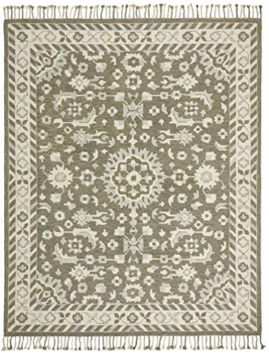 Stone & Beam Barnstead Floral Wool Area Rug, 5 x 8 Foot, Charcoal and Beige