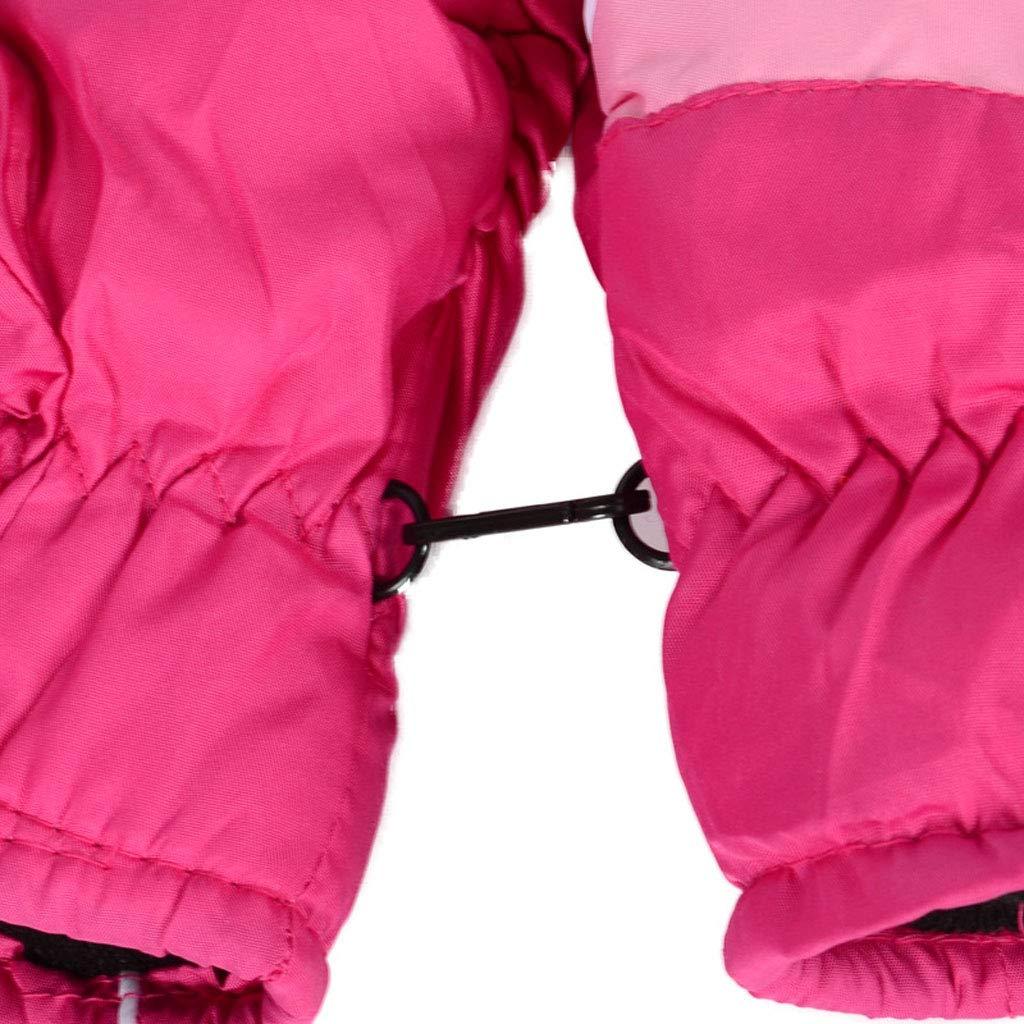 a Prova di Neve Guanti Caldi da 3 a 7 Anni Nero Impermeabili e Antivento Guanti da Sci per Bambini Tubicu