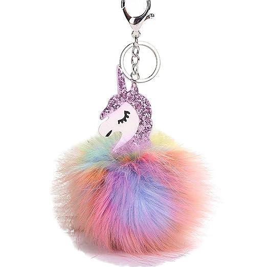 Unicorn Keychain Rainbow Faux Fur Ball Keyring Pendant for Bag Car ... 889743a7d