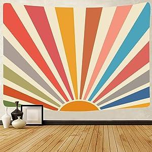 Vintage Sun Tapestry Retro 70s Rainbow Sunrise Sunset Minimal Geometric Grunge Abstract Art Boho Wall Hanging Hippie Bohemian Decor for Dorm Living Room Nursery Bedroom (59 x 79inch)
