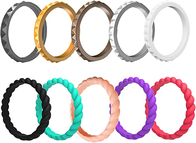 Outus 16 Silicone Ring Rubber Wedding Rings Thin Stackable Metal and Neutral Color Fashion Comfortable Fit Durable and 8 Elastic Hair Ties No Crease Non Slip Colorful for Fitness