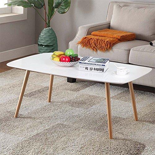 Topeakmart Modern White Gloss Rectangular Coffee Table Natur