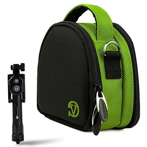 Garmin Ultra 30 / VIRB XE X Sports Action Camera Lime Green Carrying Shock Proof Bag Case + Bluetooth Monopod Selfie Stick