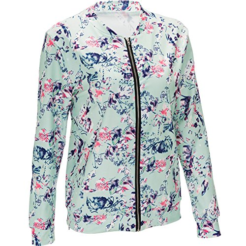 Patchwork Girls Fit Blazer Floral Neck Zipper Sleeve Fashion Outerwear MIRRAY V Casual Coats Jacket Printed Large Pink Size Vintage Autumn Outwear Long Womens Slim Short 6wqA51WAx8