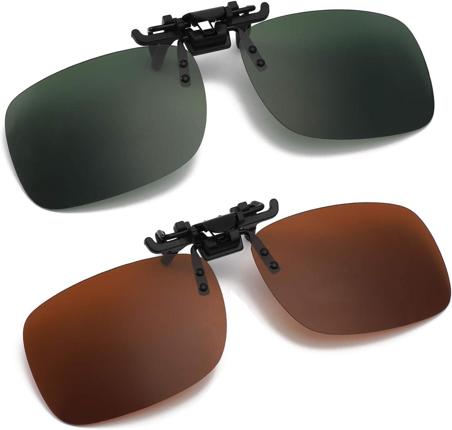 Hifot Clip Occhiali da Sole 2 Pezzi Clip polarizzata Lente Adatta sopra Occhiali da Uomo Donna Flip up Occhiali da Sole