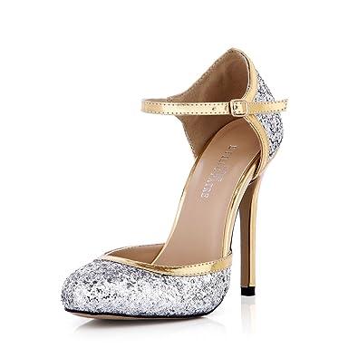 c53ee4be33c4 DolphinGirl Women Fashion Glitter Silver Golden Heel Pointy Toe 12CM High  Heels Ankle Strap Twinkle Dress