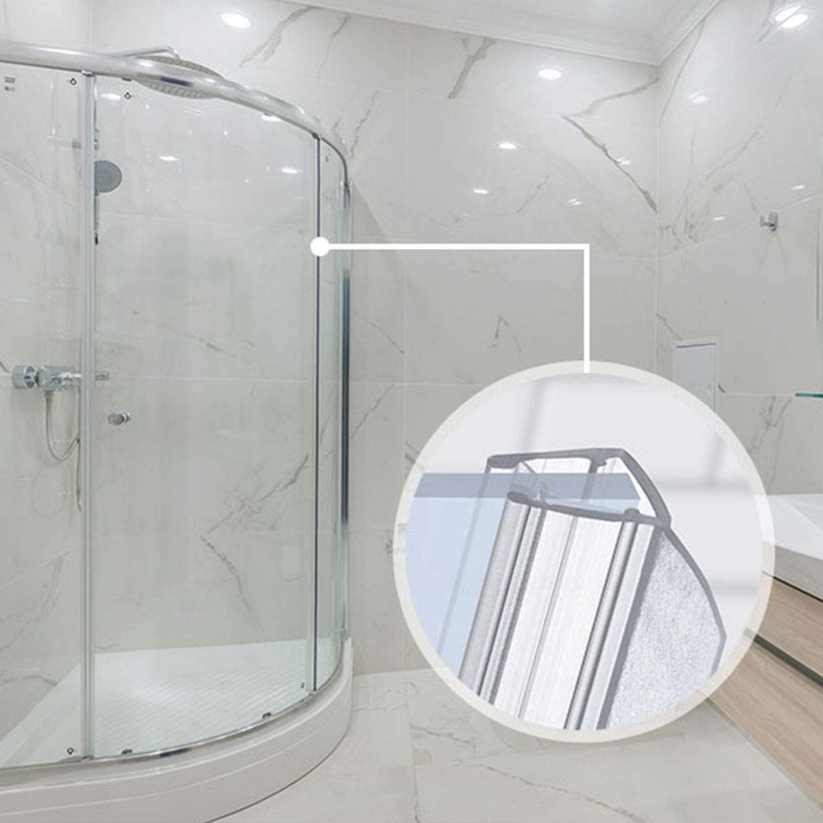 STEIGNER 30cm UK02 Curved Shower Screen Seal Suitable for Use On Glass Thicknesses of 6//7 8 mm Stops Leaks and Creates A Barrier for Round Enclosures
