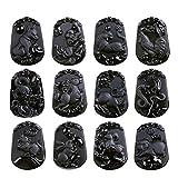 Sinymilk Natural Black Obsidian Animals Amulet Pendant Twelve Zodiac Memorial Mascot Necklace