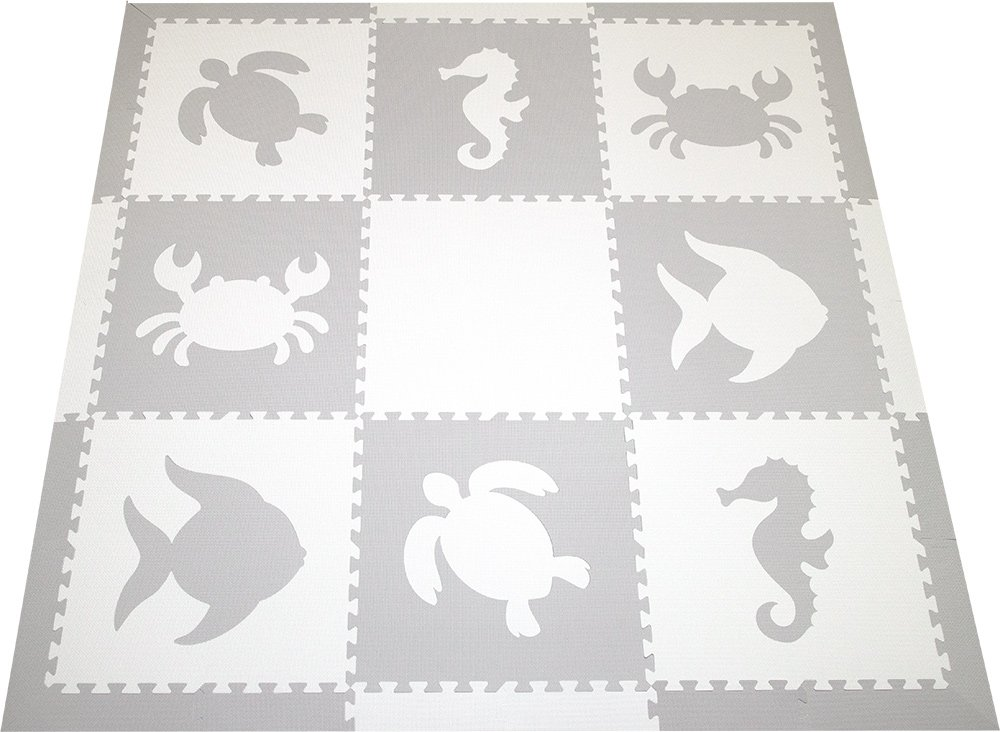 SoftTiles Sea Animals Interlocking Foam Play Mat with Sloped Borders 78'' x 78'' (Light Gray, White)