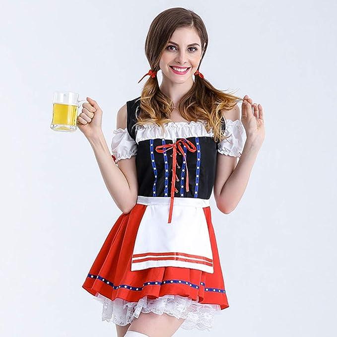 Vestito Dirndl Gonna,Bavarese Dirndl Set 3 Pezzi Marrone con Ricamo Costume Tipico Tirolese per Oktoberfest Carnevale Donna Camicia Dirndl 3 Pezzi