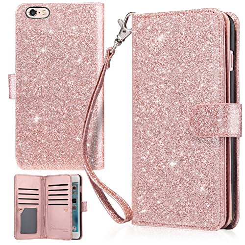 UrbanDrama iPhone 6 Plus Case, iPhone 6S Plus Wallet Case, Glitter Shiny Faux Leather Magnetic Closure Credit Card Slot Cash Holder Protective Case for iPhone 6 Plus/iPhone 6S Plus 5.5