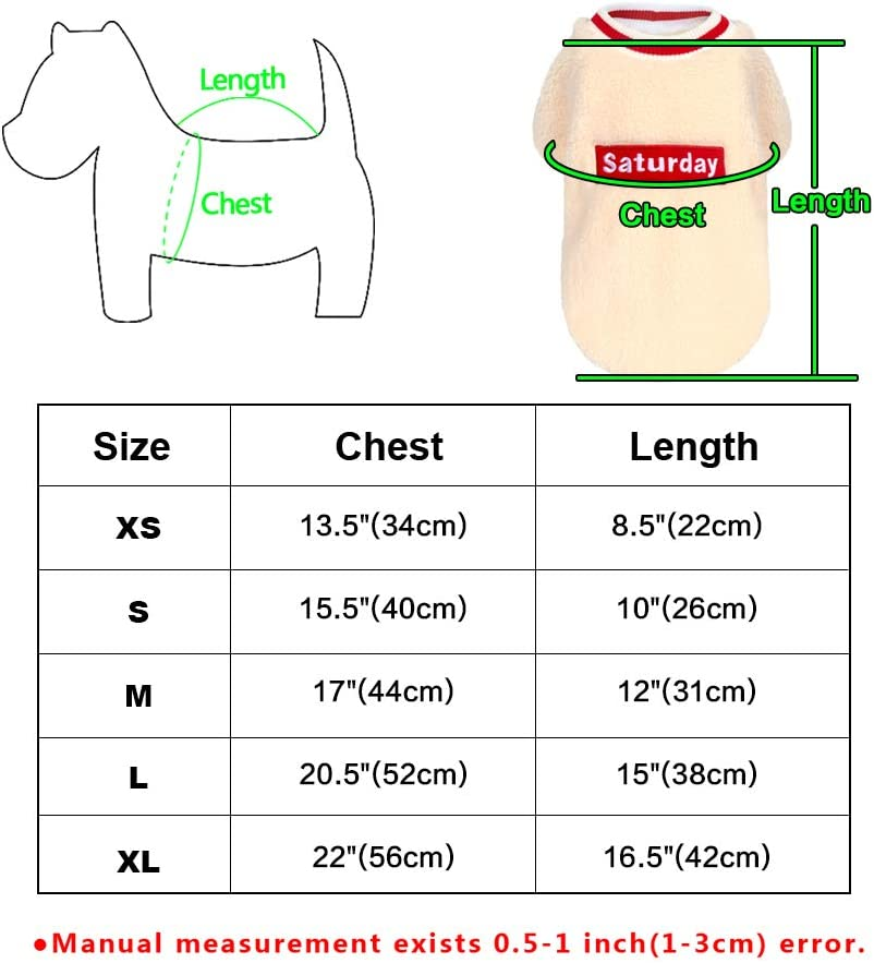 Cute Pullover Coat Winter Clothes for Little Pups Chihuahua Yorkie Pug Frenchie Puppy Beirui Soft Fleece Small Dog Pajamas Sweater for Puppy Cats 2 Colors 3 Sizes
