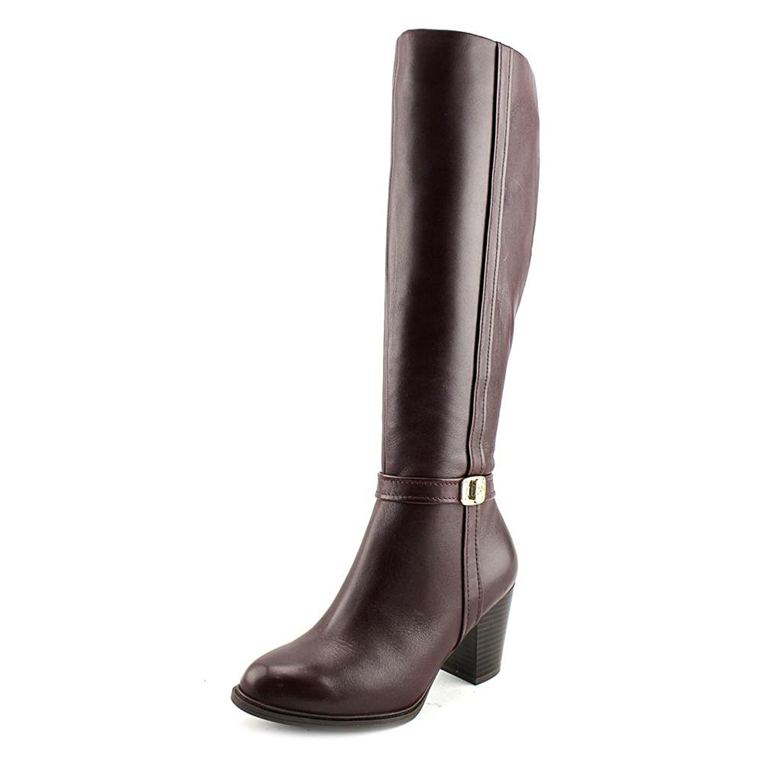 Giani Bernini Raiven Women Round Toe Leather Burgundy Knee, Oxblood, Size 7.5
