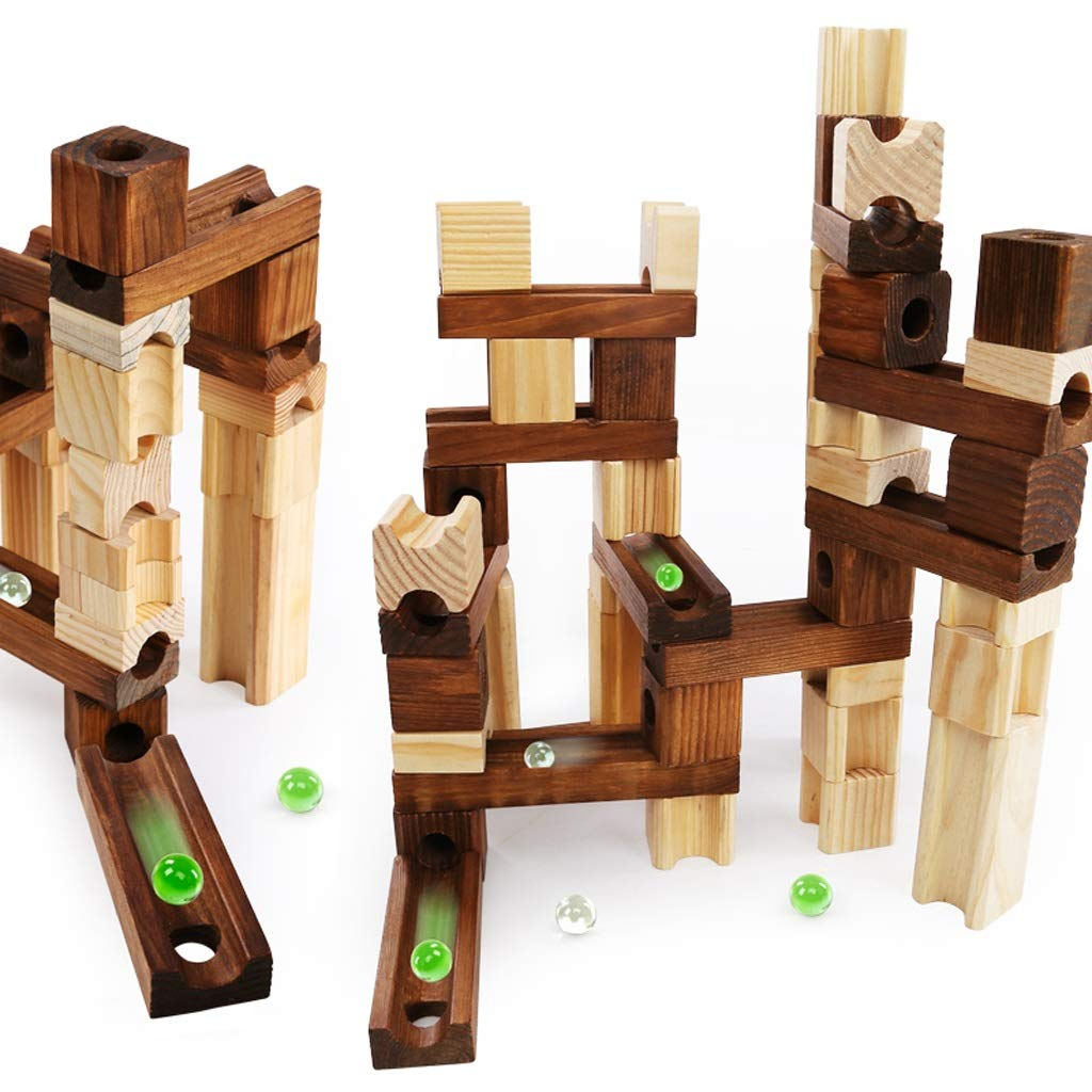 LIUFS-TOY Wooden Pipe Marbles Building Blocks Track to Large to Fight Ball Combination Early Education Toys (Size : 80 White+45 Wood+18Pinball)